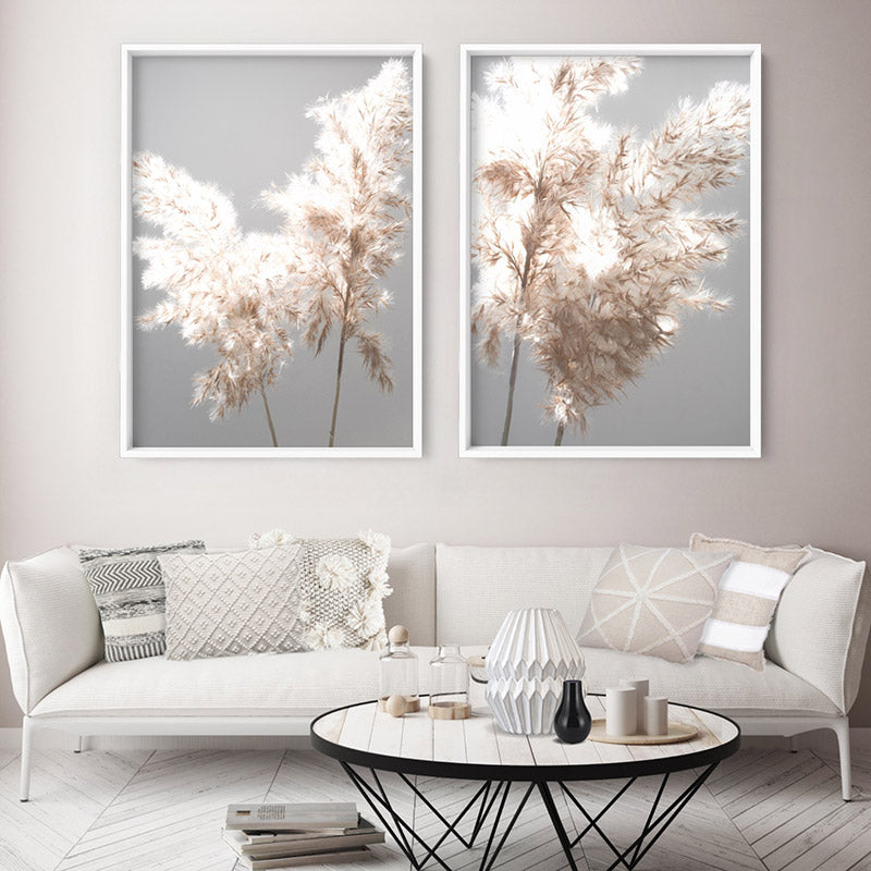 Load image into Gallery viewer, Pampas Grass Ethereal Light II - Art Print, Stretched Canvas or Framed Canvas Wall Art, Shown framed in a room mockup