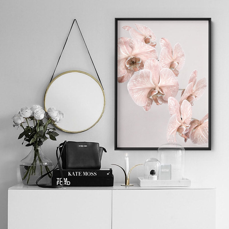 Blushing Orchid Blooms II - Art Print, Stretched Canvas or Framed Canvas Wall Art, Shown inside a frame