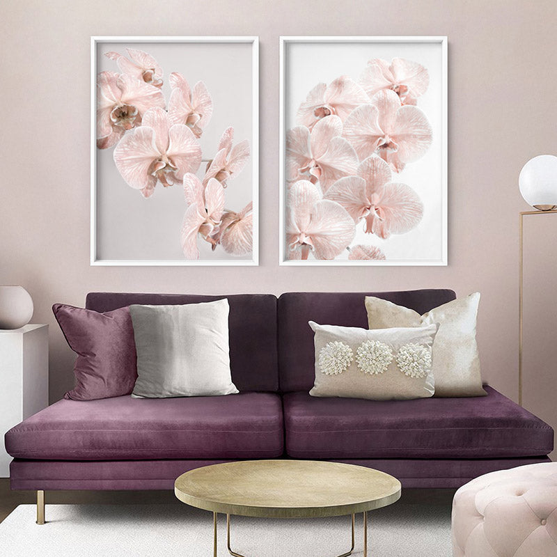 Blushing Orchid Blooms II - Art Print, Stretched Canvas or Framed Canvas Wall Art, Shown framed in a room mockup