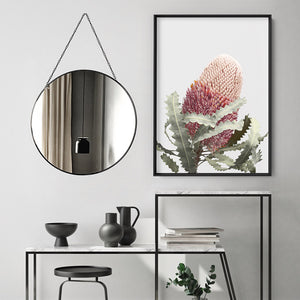 Load image into Gallery viewer, Blushing Banksia Flower - Art Print, Stretched Canvas or Framed Canvas Wall Art, Shown inside a frame