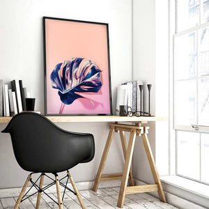 High Fashion Monstera in Holographic - Art Print, Stretched Canvas or Framed Canvas Wall Art, Shown inside a frame