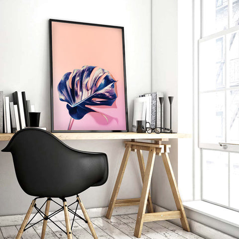 High Fashion Monstera in Holographic - Art Print, Stretched Canvas, or Framed Canvas Wall Art
