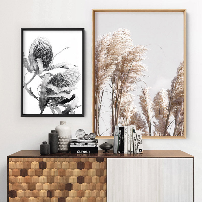 Pampas Grass Portrait in Neutral Tones - Art Print, Stretched Canvas or Framed Canvas Wall Art, Shown framed in a room mockup