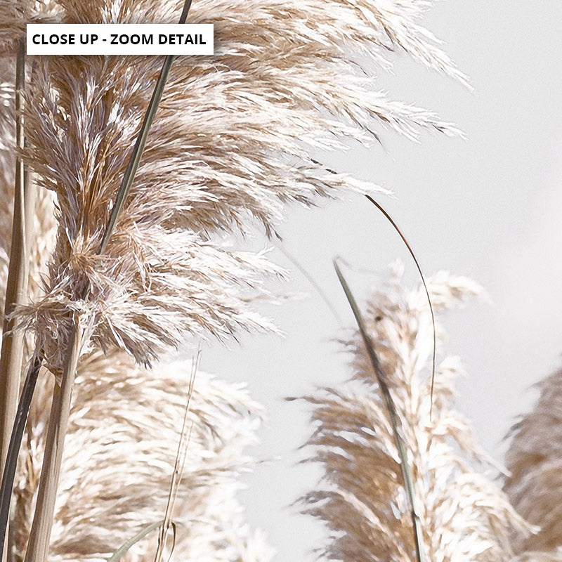 Pampas Grass Portrait in Neutral Tones - Art Print, Stretched Canvas or Framed Canvas Wall Art, Close up View of Print Resolution