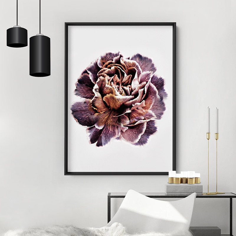 Floral Pose, Close up detail of Flower - Art Print, Stretched Canvas or Framed Canvas Wall Art, Shown inside a frame