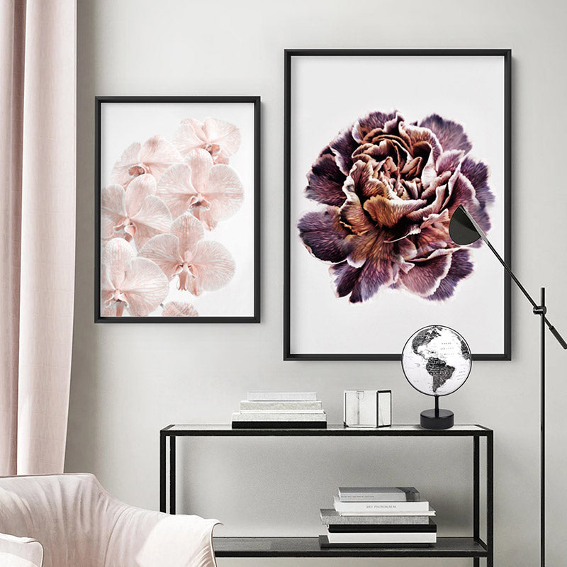 Floral Pose, Close up detail of Flower - Art Print, Stretched Canvas or Framed Canvas Wall Art, Shown framed in a room mockup