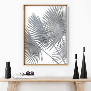 Fan Palm Fronds in Pastel I - Art Print, Stretched Canvas or Framed Canvas Wall Art, Shown inside a frame