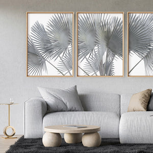 Fan Palm Fronds in Pastel I - Art Print, Stretched Canvas or Framed Canvas Wall Art, Shown framed in a room mockup