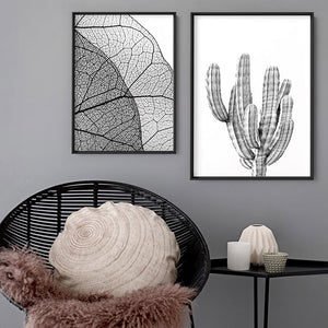Monochrome Cacti - Art Print, Stretched Canvas or Framed Canvas Wall Art, Shown framed in a room mockup