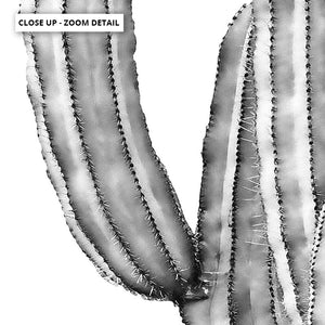 Monochrome Cacti - Art Print, Stretched Canvas or Framed Canvas Wall Art, Close up View of Print Resolution
