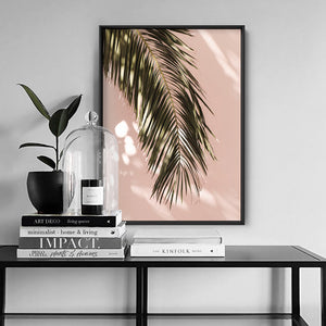 Desert Palm Frond in Afternoon Light - Art Print, Stretched Canvas or Framed Canvas Wall Art, Shown inside a frame