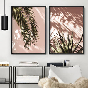 Desert Palm Frond in Afternoon Light - Art Print, Stretched Canvas or Framed Canvas Wall Art, Shown framed in a room mockup