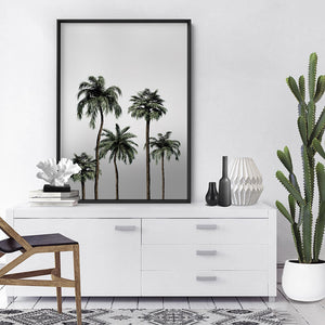 Miami Palms in Monotones - Art Print, Stretched Canvas or Framed Canvas Wall Art, Shown inside a frame