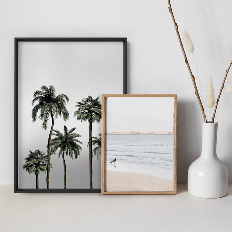 Miami Palms in Monotones - Art Print, Stretched Canvas or Framed Canvas Wall Art, Shown framed in a room mockup