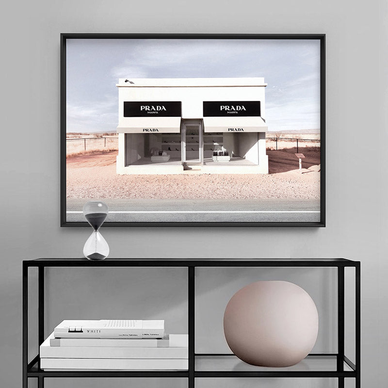 Marfa Store Texas in Blush - Art Print, Stretched Canvas or Framed Canvas Wall Art, Shown inside a frame