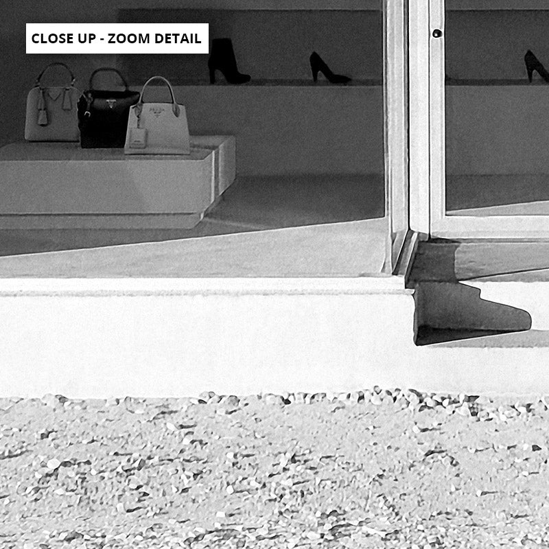 Marfa Store Texas in B&W - Art Print, Stretched Canvas or Framed Canvas Wall Art, Shown framed in a room mockup