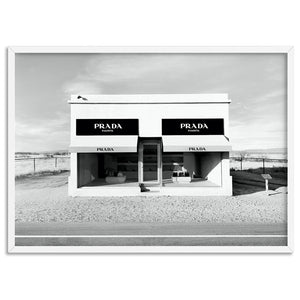 Marfa Store Texas in B&W - Art Print, Stretched Canvas, or Framed Canvas Wall Art