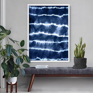 Load image into Gallery viewer, Shibori Indigo Tie Dye I - Art Print, Stretched Canvas or Framed Canvas Wall Art, Shown inside a frame