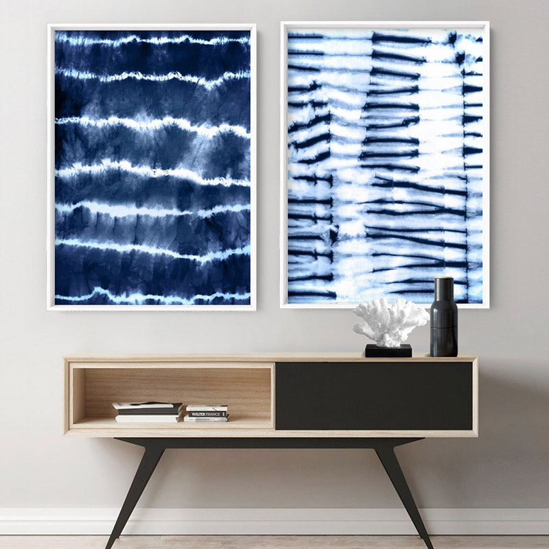 Load image into Gallery viewer, Shibori Indigo Tie Dye I - Art Print, Stretched Canvas or Framed Canvas Wall Art, Shown framed in a room mockup