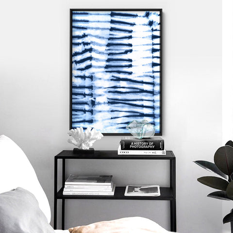Shibori Indigo Tie Dye V2 - Art Print, Stretched Canvas, or Framed Canvas Wall Art