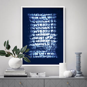 Shibori Indigo Tie Dye V4 - Art Print, Stretched Canvas, or Framed Canvas Wall Art