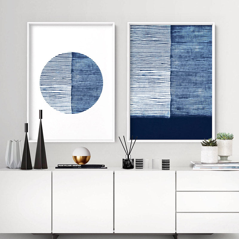 Load image into Gallery viewer, Shibori Indigo Tie Dye VI - Art Print, Stretched Canvas or Framed Canvas Wall Art, Shown framed in a room mockup