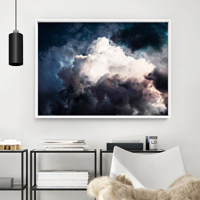 Dark Stormy Clouds in the Sky I - Art Print, Stretched Canvas or Framed Canvas Wall Art, Shown inside a frame