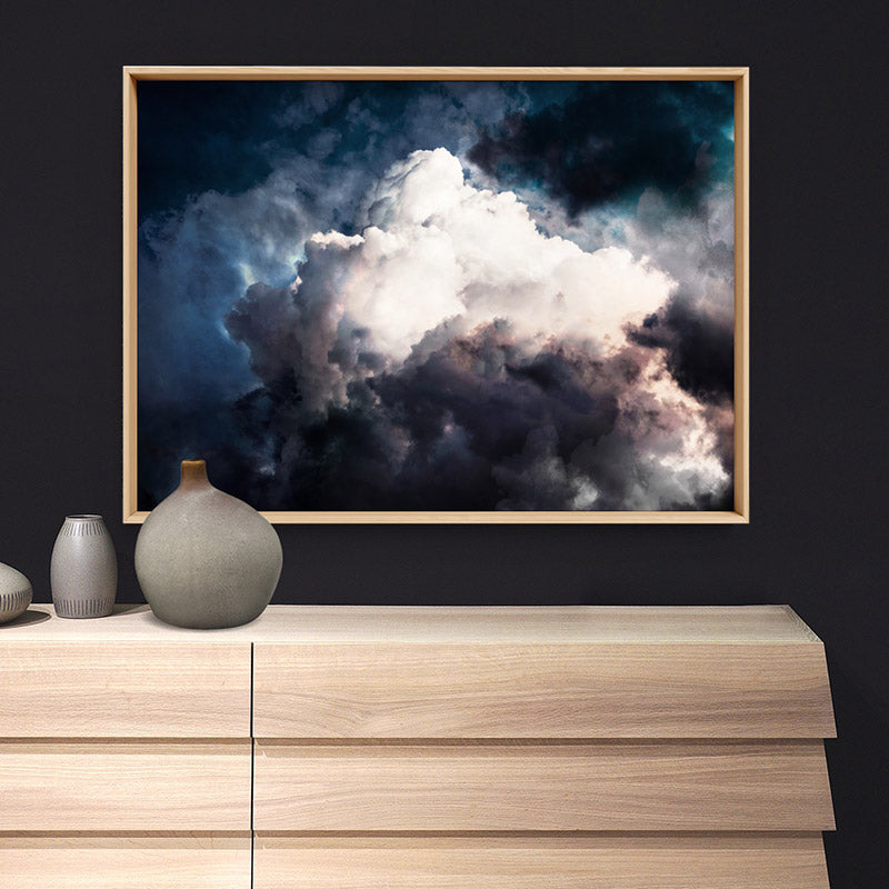 Dark Stormy Clouds in the Sky I - Art Print, Stretched Canvas or Framed Canvas Wall Art, Shown framed in a room mockup