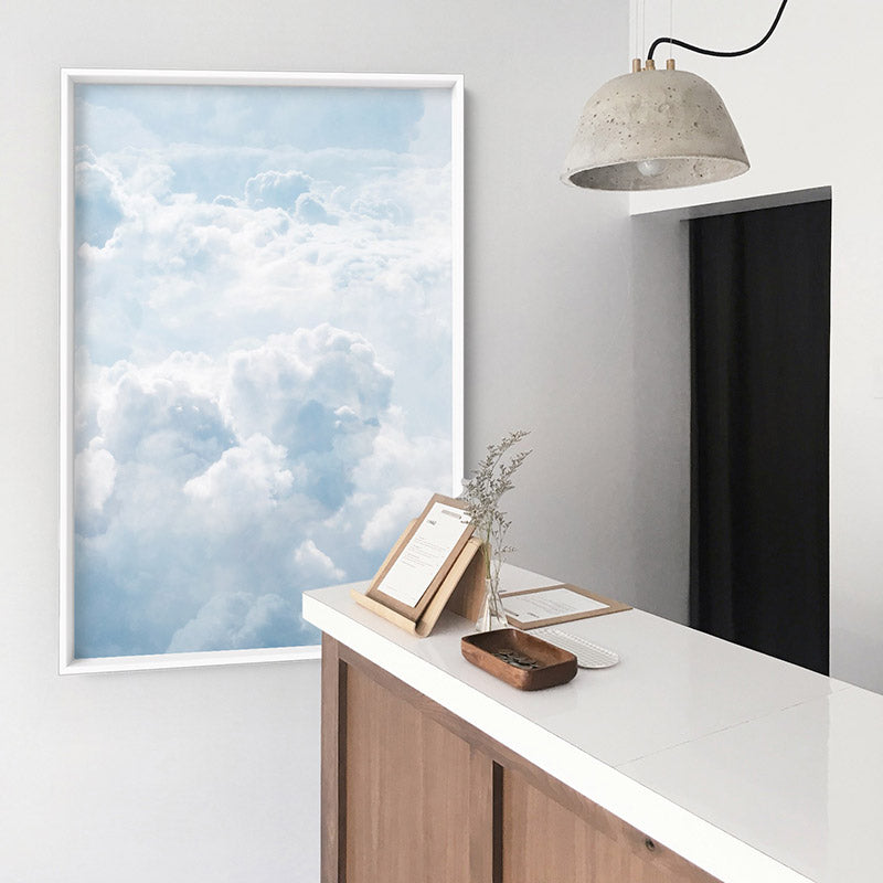 Load image into Gallery viewer, White Clouds in Blue Sky I - Art Print, Stretched Canvas or Framed Canvas Wall Art, Shown inside a frame