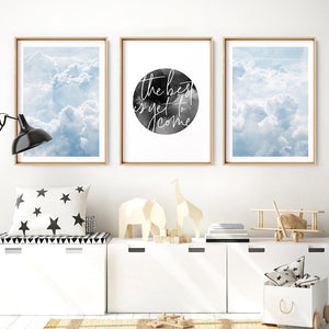 Load image into Gallery viewer, White Clouds in Blue Sky I - Art Print, Stretched Canvas or Framed Canvas Wall Art, Shown framed in a room mockup