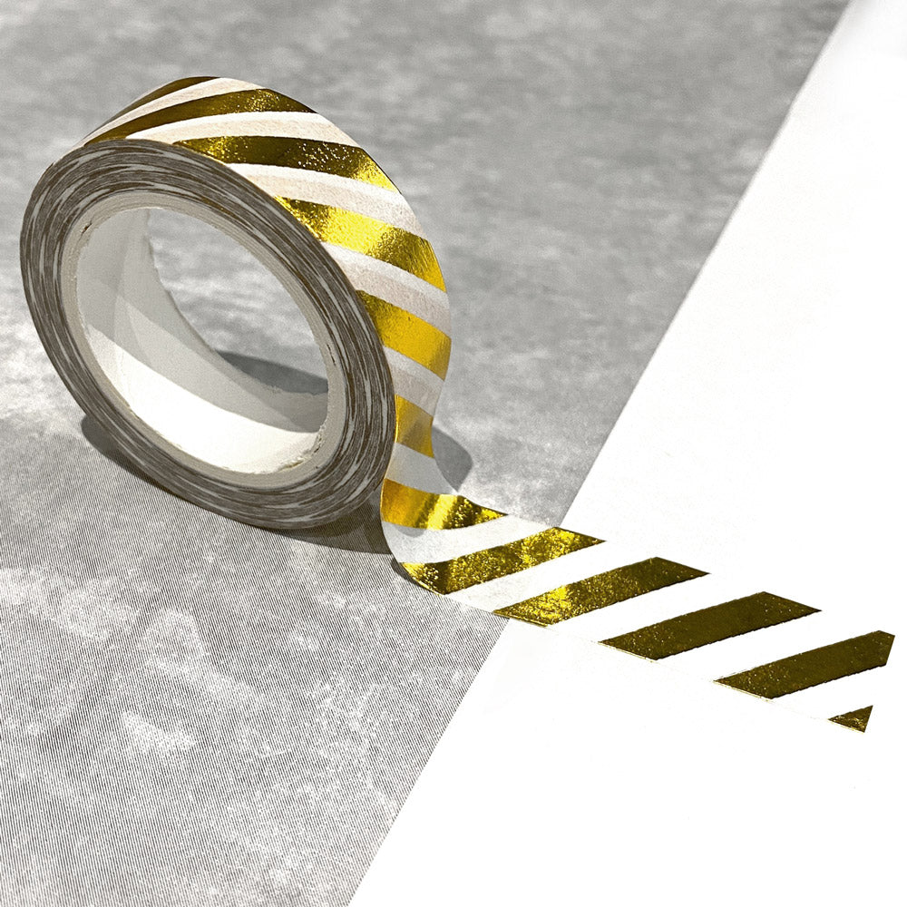 Washi Tape in Gold Foil Diagonal Stripes