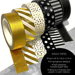 Washi Tapes in Gold + Black and White Designs