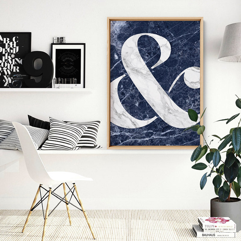 Ampersand in Navy Marble - Art Print, Stretched Canvas or Framed Canvas Wall Art, Shown inside a frame