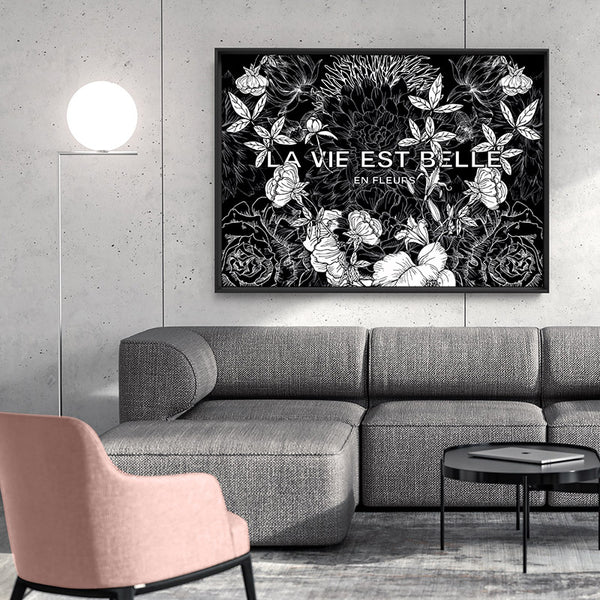 La Vie Est Belle Floral Landscape - Art Print, Stretched Canvas, or Framed Canvas Wall Art