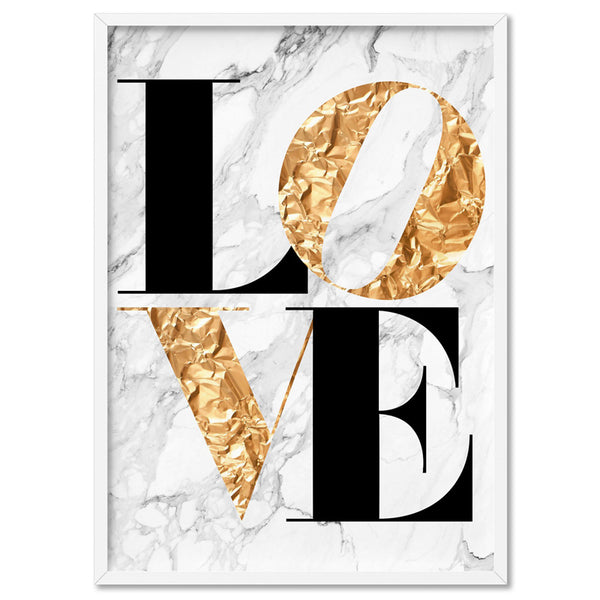 Iconic Love (faux gold + white marble) - Art Print, Stretched Canvas, or Framed Canvas Wall Art