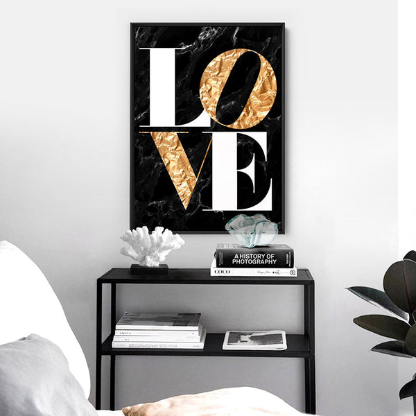 Iconic Love (faux gold + black marble) - Art Print, Stretched Canvas, or Framed Canvas Wall Art