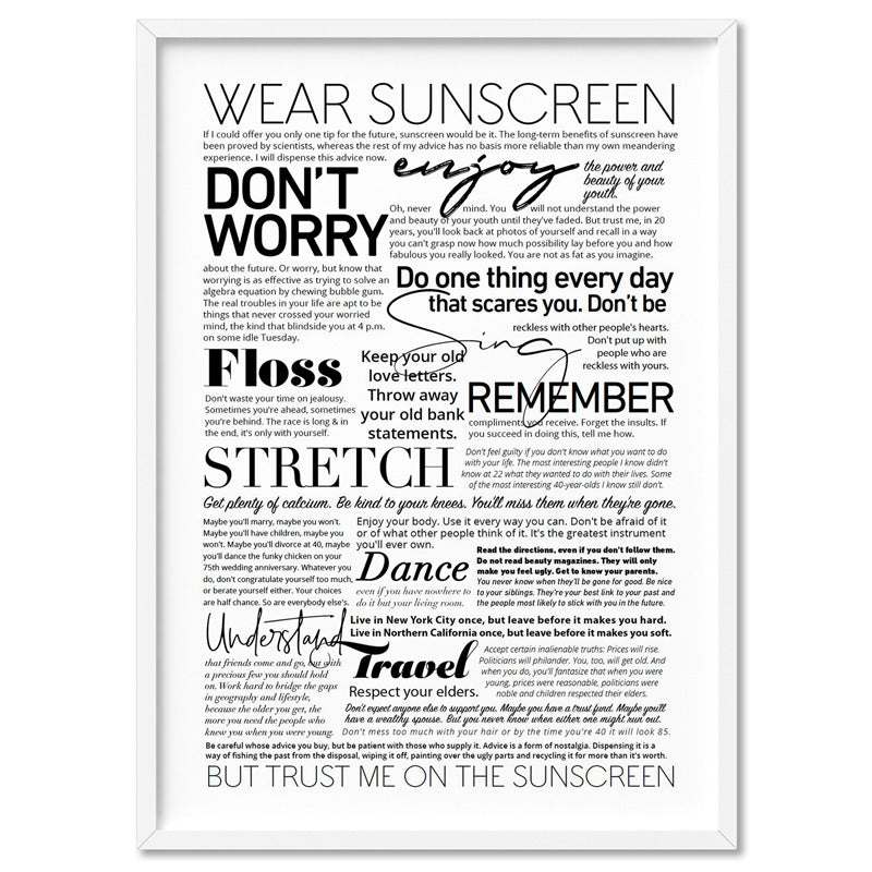 Everybody's Free (to Wear Sunscreen) Lyrics - Art Print