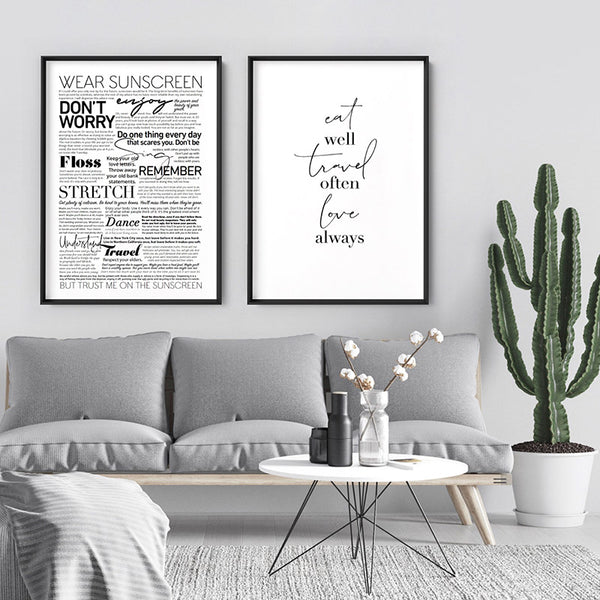 Everybody's Free (to Wear Sunscreen) Lyrics - Art Print, Stretched Canvas, or Framed Canvas Wall Art