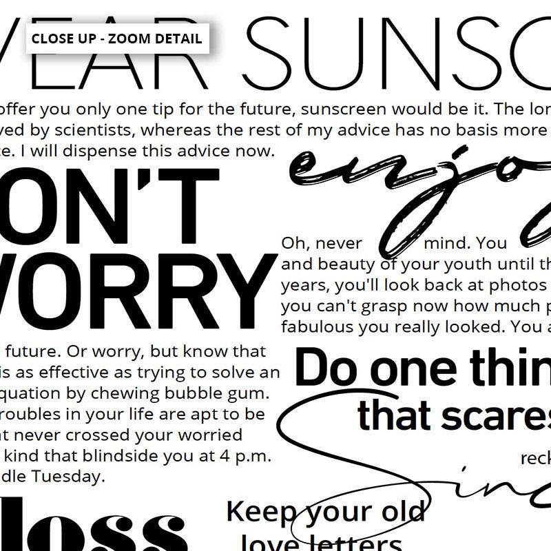 Everybody's Free (to Wear Sunscreen) Lyrics - Art Print, Stretched Canvas or Framed Canvas Wall Art, Close up View of Print Resolution