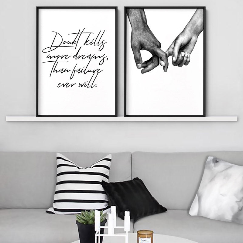 Doubt Kills More Dreams, than Failure Ever Will V2 - Art Print, Stretched Canvas or Framed Canvas Wall Art, Shown framed in a room mockup