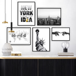 New York is Always a Good Idea - Art Print, Stretched Canvas or Framed Canvas Wall Art, Shown framed in a room mockup