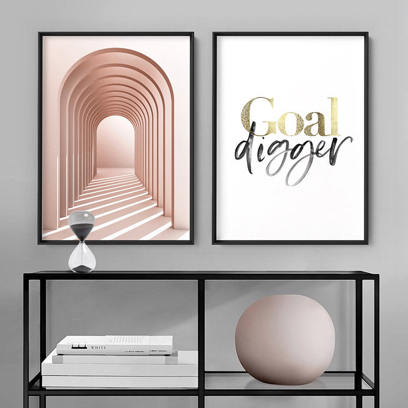 Goal Digger - Art Print, Stretched Canvas or Framed Canvas Wall Art, Shown framed in a room mockup
