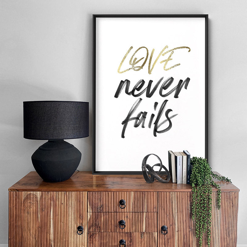 Love Never Fails - Art Print, Stretched Canvas or Framed Canvas Wall Art, Shown inside a frame