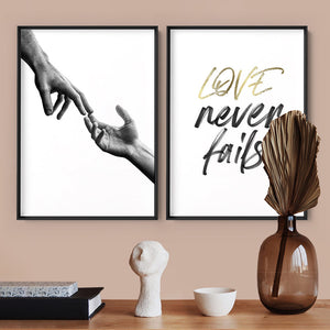 Love Never Fails - Art Print, Stretched Canvas or Framed Canvas Wall Art, Shown framed in a room mockup