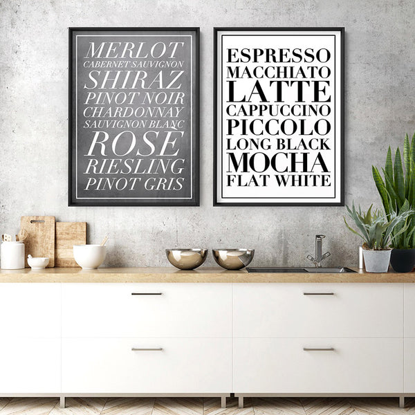 The Coffee List (white) - Art Print, Stretched Canvas, or Framed Canvas Wall Art