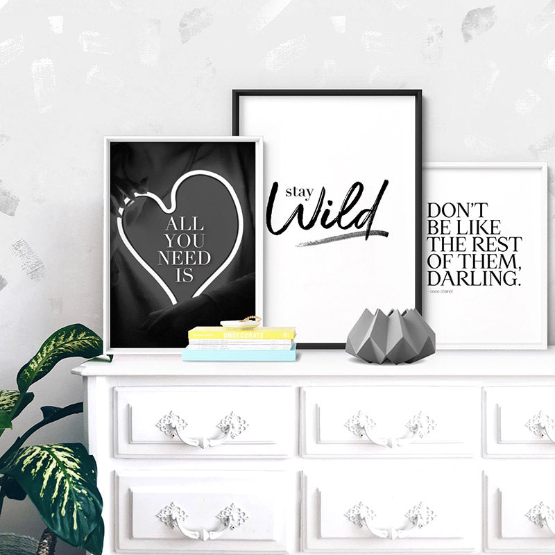 Stay Wild - Art Print, Stretched Canvas or Framed Canvas Wall Art, Shown inside a frame
