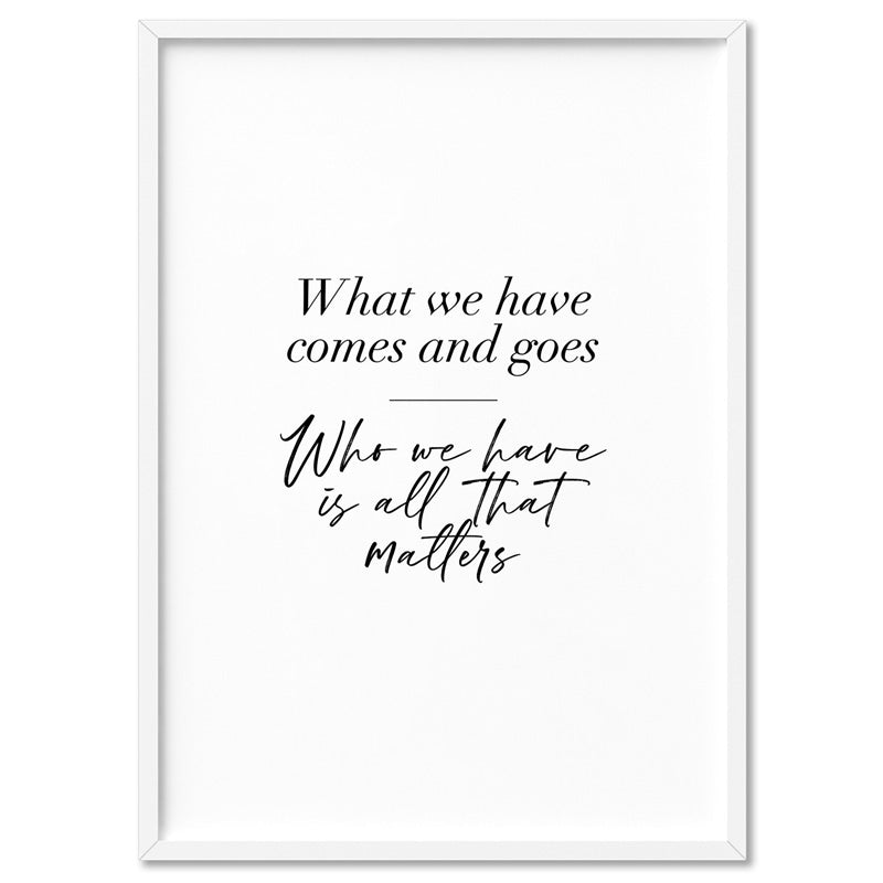 Who we Have in our Hearts Quote - Art Print, Stretched Canvas, or Framed Canvas Wall Art