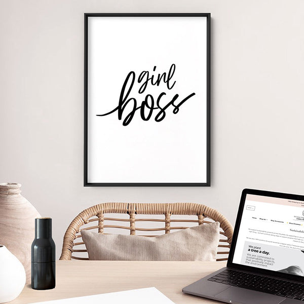 GIRLBOSS Everyday I'm Hustling - Art Print, Stretched Canvas, or Framed Canvas Wall Art