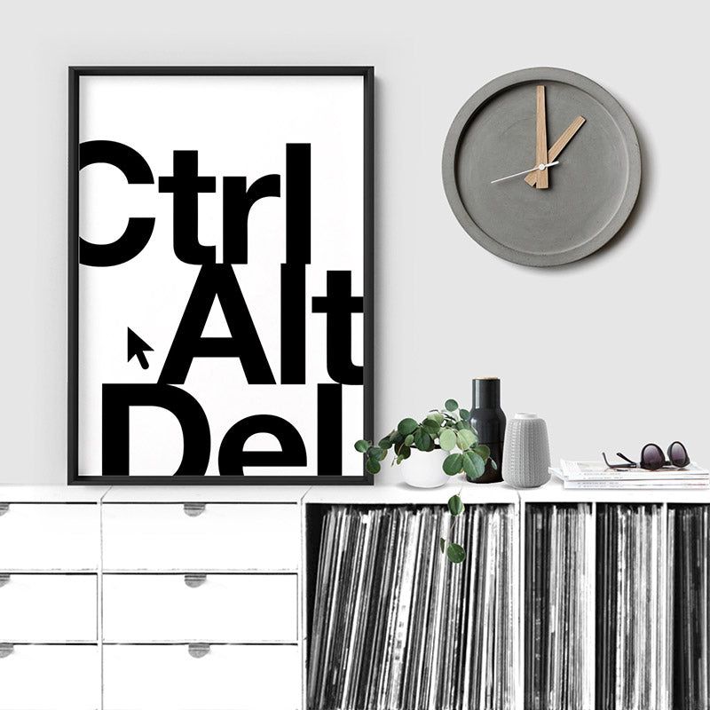 CTRL ALT DEL - Art Print, Stretched Canvas or Framed Canvas Wall Art, Shown inside a frame