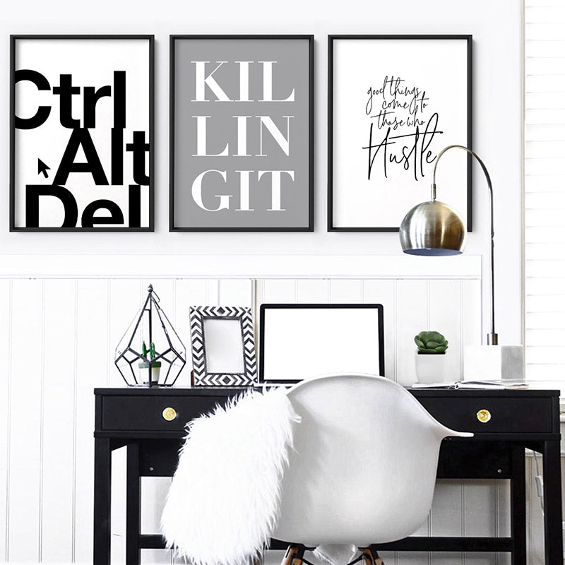 CTRL ALT DEL - Art Print, Stretched Canvas or Framed Canvas Wall Art, Shown framed in a room mockup